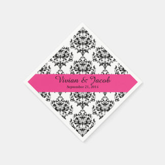 Elegant Black and White Damask Wedding Napkin Disposable Napkins