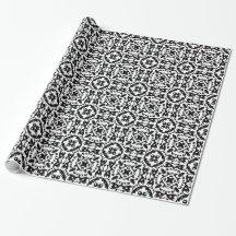 Elegant Black and White Folk Art Damask Gift Wrap Paper