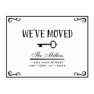 Elegant Black and White Key Moving Announcement Postcard