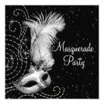 Elegant Black and White Masquerade Party 13 Cm X 13 Cm Square Invitation Card