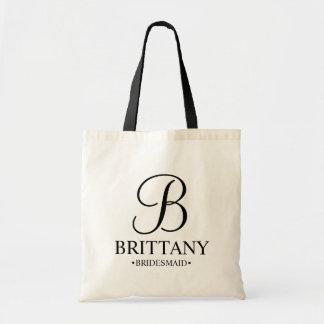 Elegant Black and White Personalised Bridesmaid Tote Bag