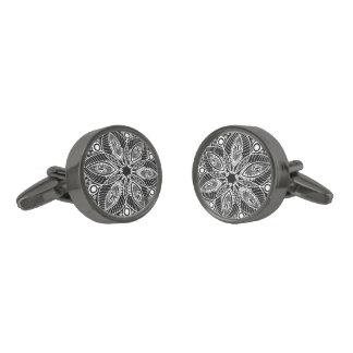 Elegant Black And White Retro Lace Circle Gunmetal Finish Cufflinks