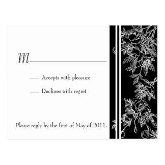 Elegant Black and White Rose RSVP Postcard