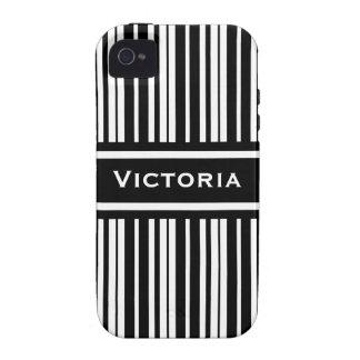 Elegant Black and White Stripes Custom iPhone 4 Case