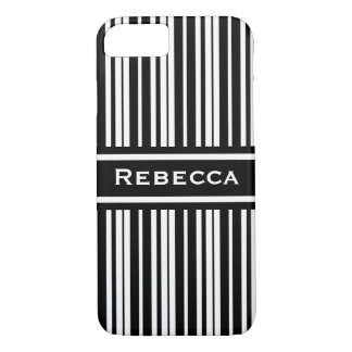 Elegant Black and White Stripes Custom iPhone 7 Case