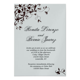 Elegant Black and white Swirl 13 Cm X 18 Cm Invitation Card