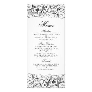 Elegant black and white swirls wedding menu personalized rack card