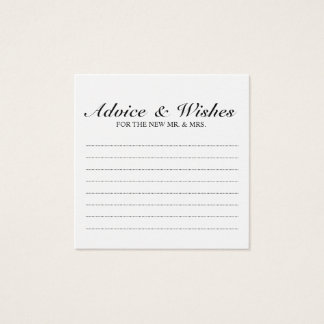 Elegant Black and White Wedding Advice and Wishes Square Business Card