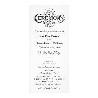 Elegant Black And White Wedding Ceremony Programs Custom Rack Card