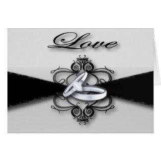 Elegant Black and White Wedding Favor Card