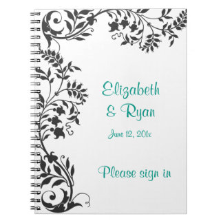 Elegant Black and White Wedding Guest Book Spiral Note Book