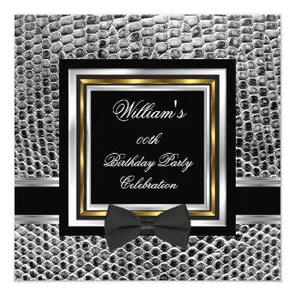 Elegant Black Bowtie Gold Silver Birthday Party 13 Cm X 13 Cm Square Invitation Card
