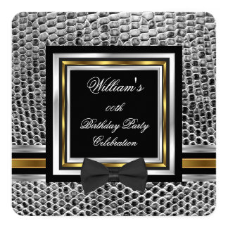 Elegant Black Bowtie Gold Silver Birthday Party 2 13 Cm X 13 Cm Square Invitation Card