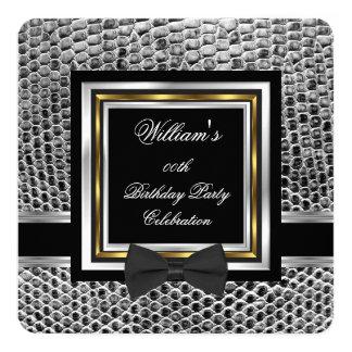 Elegant Black Bowtie Gold Silver Birthday Party Card