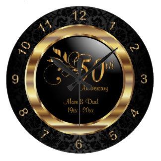 Elegant Black Damask - 50th Golden Anniversary Wallclocks