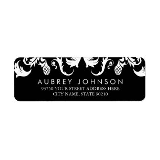 Elegant Black Damask Address Labels