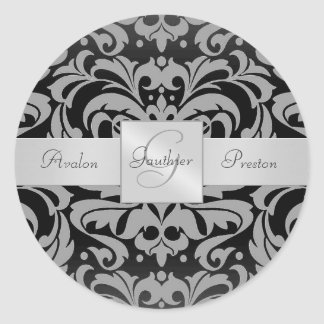 Elegant Black Damask Monogram Wedding Sticker