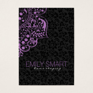 Elegant Black Damasks Purple Vintage Lace Business Card