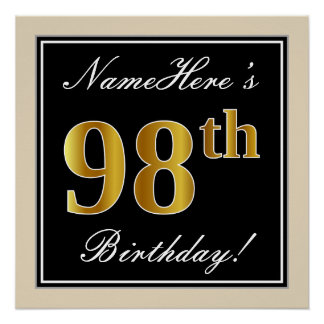 Elegant, Black, Faux Gold 98th Birthday + Name Poster