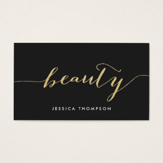 Elegant black faux gold glitter cosmetology beauty business card