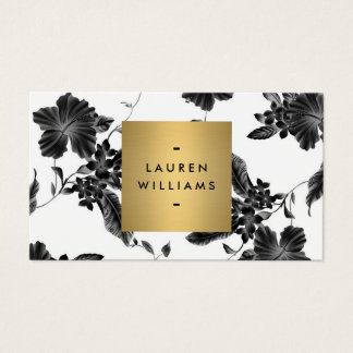 Elegant Black Floral Pattern 4 with Gold Name Logo