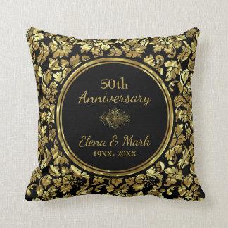 Elegant Black & Gold 50th Wedding Anniversary Cushion