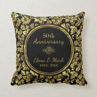 Elegant Black & Gold 50th Wedding Anniversary Throw Pillow