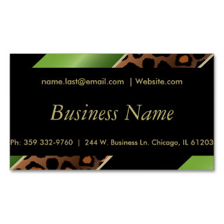Elegant Black, Gold and Green Leopard Stripes Magnetic Business Card