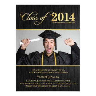 Elegant Black & Gold Class of 2014 Graduation 14 Cm X 19 Cm Invitation Card
