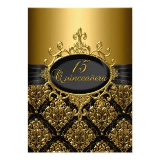 Elegant Black Gold Damask Quinceanera Invite