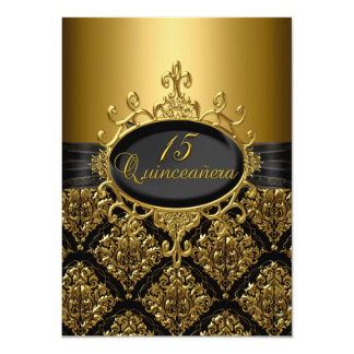 Elegant Black & Gold Damask Quinceanera Invite