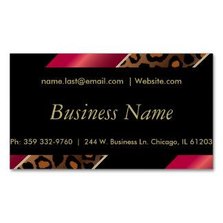 Elegant Black, Gold & Deep Red Leopard Stripes Magnetic Business Cards