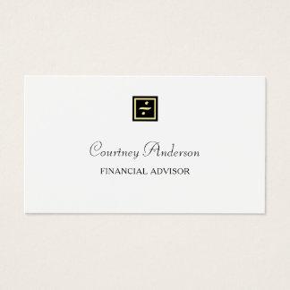 Elegant Black Gold Division Logo Financial Advisor Business Card