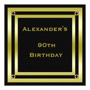 Elegant Black Gold Framed Mans 90th Birthday Card