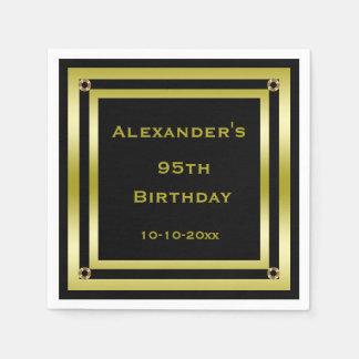 Elegant Black & Gold Framed Man's 95th Birthday Disposable Napkin