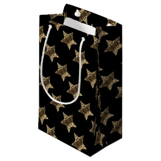 Elegant Black Gold Look Christmas Stars Pattern Small Gift Bag