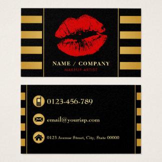 Elegant Black Gold Makeup Artist (Personalise) Business Card