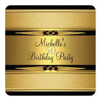 Elegant Black Gold Metal Look 50th Birthday Party Card