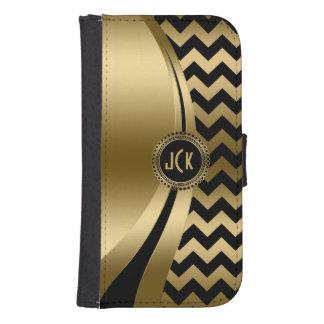 Elegant Black & Gold Modern Zigzag Chevron Pattern Samsung S4 Wallet Case