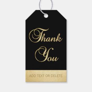 Elegant Black Gold THANK YOU gift favor Gift Tags