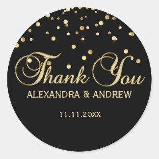 Elegant Black Gold Wedding Thank You Classic Round Sticker