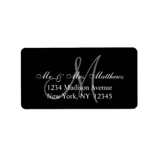 Elegant Black Grey Monogram Wedding Address Label