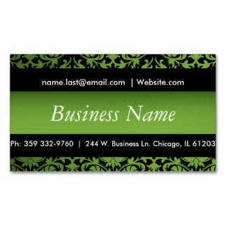 Elegant Black & Peridot Green Damask Design Magnetic Business Cards