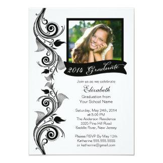 Elegant Black Photo Graduation Party Invitation