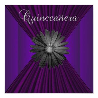 Elegant Black Purple Daisy Quinceanera Invitations