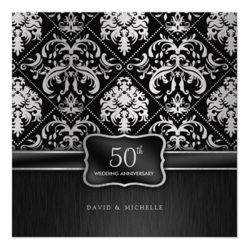 Elegant Black & Silver 50th Wedding Anniversary Custom Invite