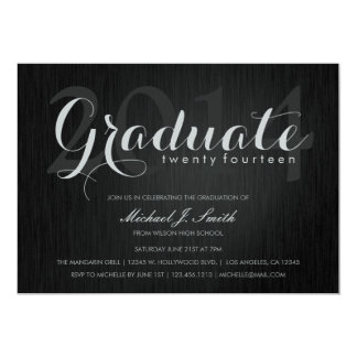 Elegant Black & Silver Class of 2014 Typography Card