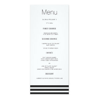 Elegant Black Striped Wedding Dinner Menu Cards 10 Cm X 24 Cm Invitation Card