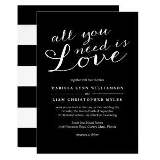 Elegant Black Stripes Wedding Invitation