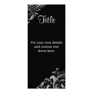 "Elegant Black Swirl 4"" X 9"" Wedding Details Card"